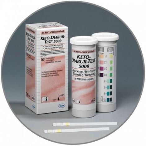 Keto-Diabur Test De 5000 (Glucose, Corps Cétoniques) 50 Pièces