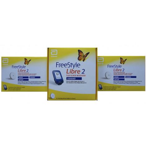 Freestyle Libre-2 Lettori mmol/L + 2 Sensori di livello di zucchero nel sangue Metri