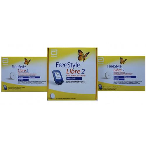 Freestyle Libre 2 Reader mmol/L + 2 Sensors Blood Glucose Meters