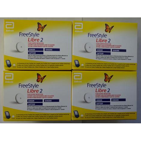 4 Sensoren für Freestyle-Libre-2-Leser in mg/dL oder mmol/L