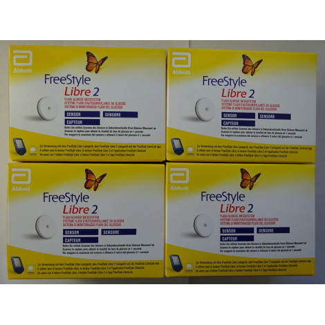 4 Sensors for Freestyle Libre 2 Reader mg/dL or mmol/L