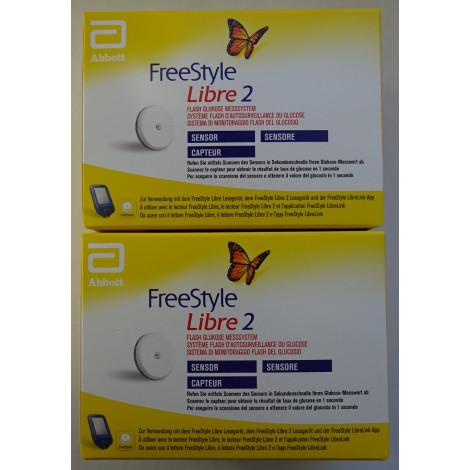 2 Sensoren für die Freestyle-Libre-2-Lesegerät in mg/dL oder mmol/L