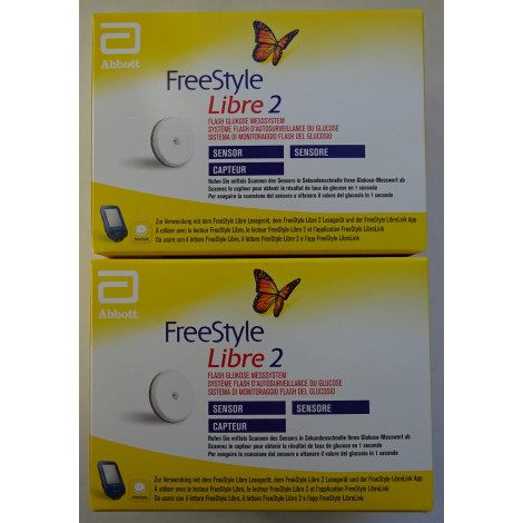 2 Sensors for Freestyle Libre 2 Reader mg/dL or mmol/L