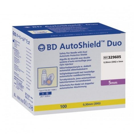 BD auto shield Duo 0.3 x 5 mm, 100 pieces