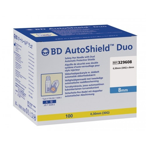 BD auto shield Duo of 0.3 x 8 mm, 100 pieces
